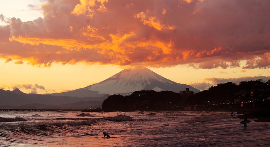 サーフィンと富士山