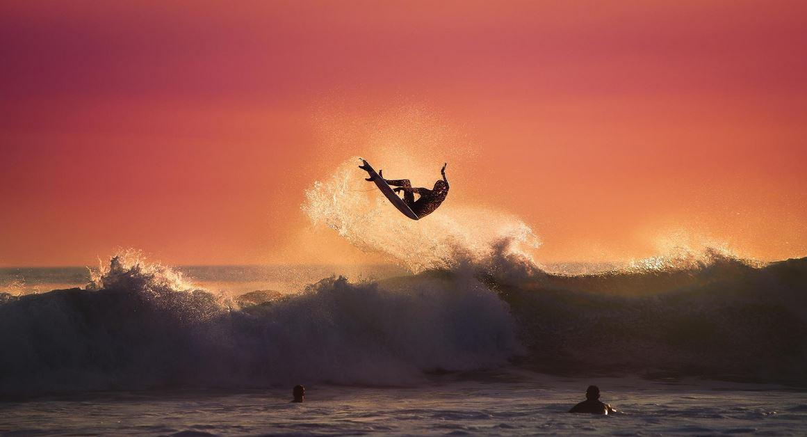 夕日サーフィン