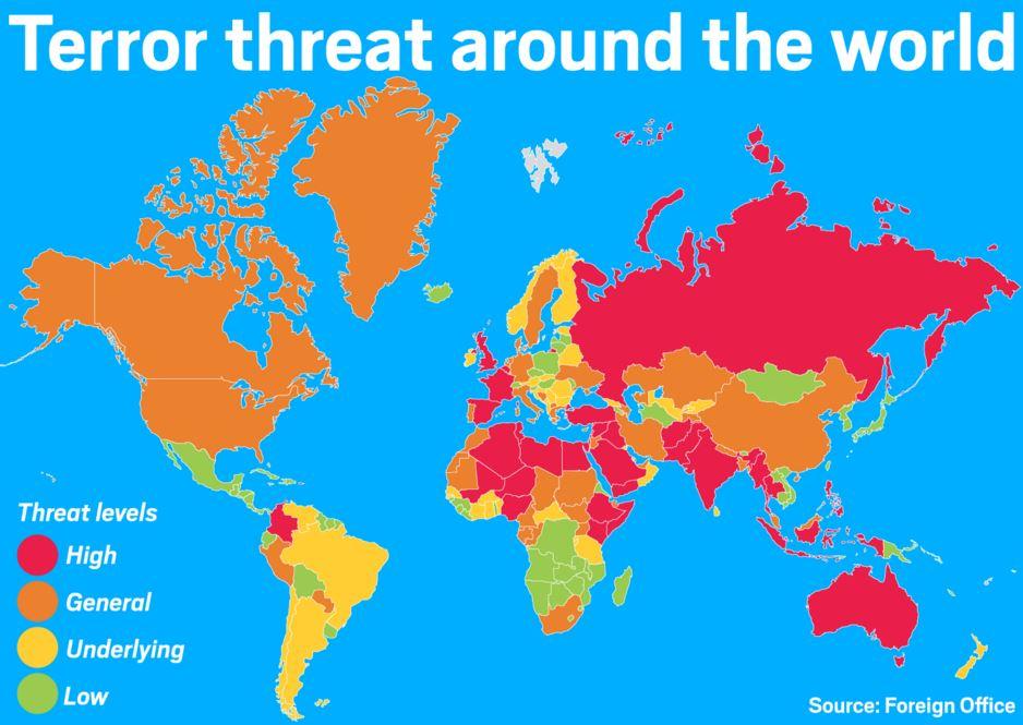 テロが起こる可能性の国